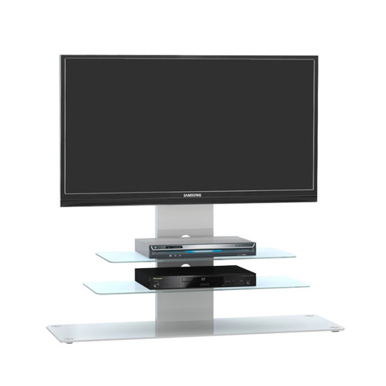 Tribeca LCD TV Stand In White Glass With White Metal And LED