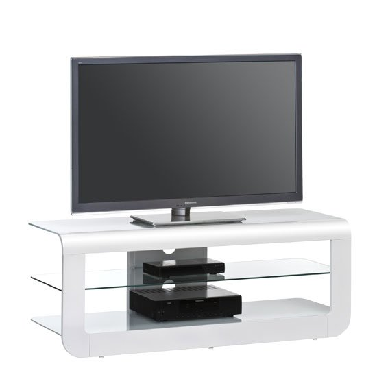 Read more about Credenza glass lcd tv stand in white high gloss with glass shelf