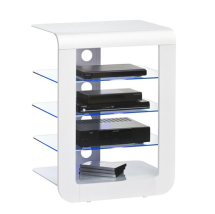 Mezzo Hi Fi Stand In White Glass Top With Blue LED Lighting