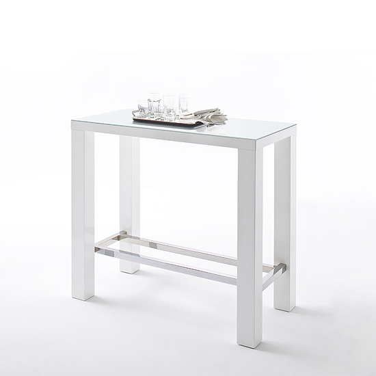 Jam High Bar Table Rectangular In White Gloss And Glass