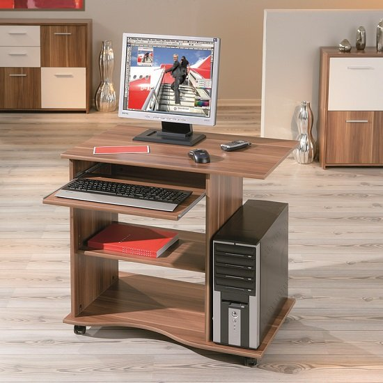 Remington Contemporary Computer Desk In Walnut With Castors_1
