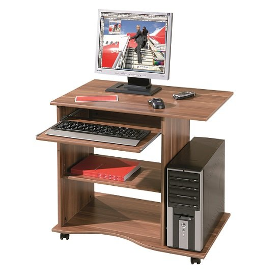 Remington Contemporary Computer Desk In Walnut With Castors_2