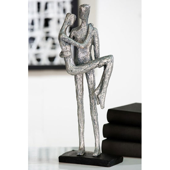 Trust Sculpture In Poly Silver And Grey With Black Base