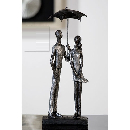 Umbrella Sculpture In Antique Silver With Black Base