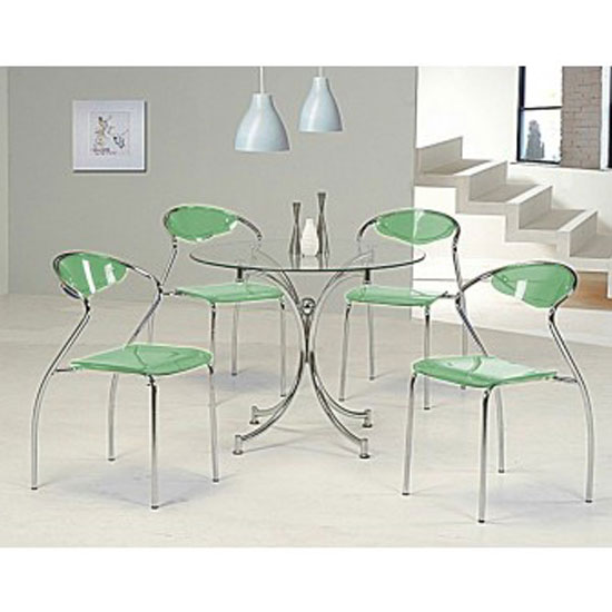 Jenny Round Dining Table In Clear Glass And 4 Green Dining Chair