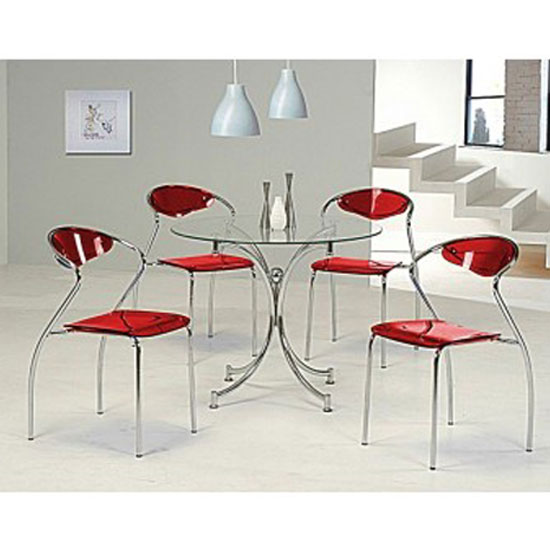 Jenny Glass Dining Table With 4 Red Dining Chairs