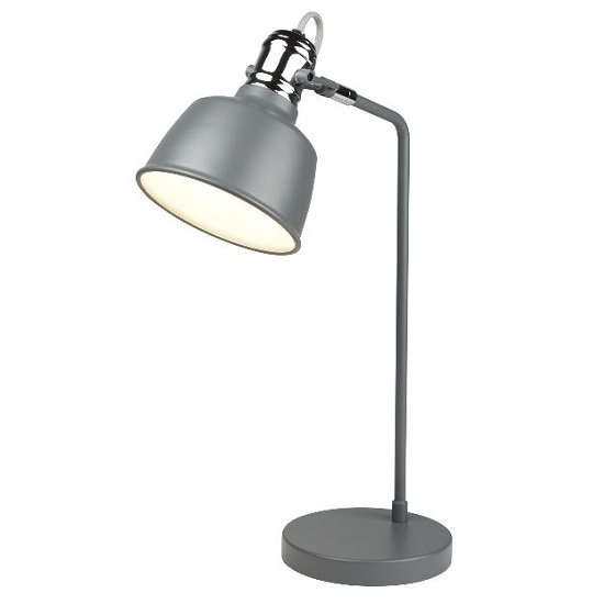 Striking Single Light Table Lamp InMatt Grey With Chrome Detail