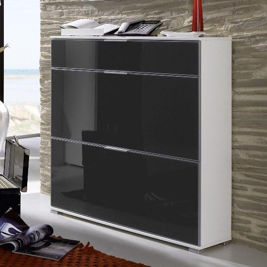 anthracite white shoe cabinet storage rack 1894 32 ebay. Black Bedroom Furniture Sets. Home Design Ideas