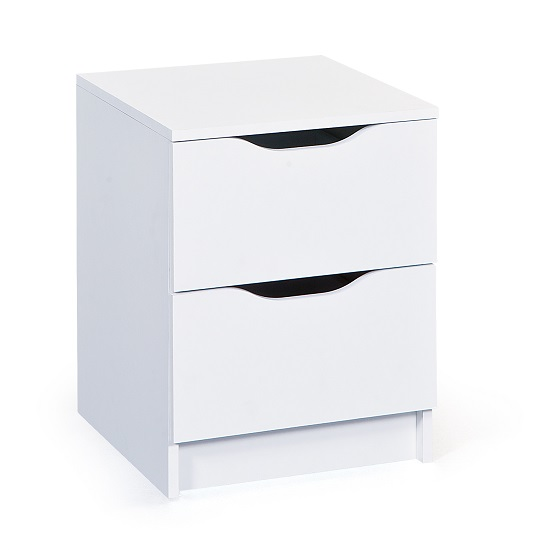 Crick Contemporary Bedside Cabinet In White With 2 Drawers