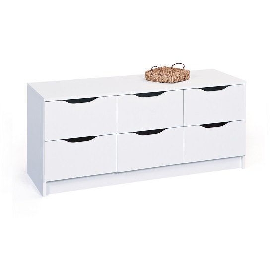 Crick Wide Chest of Drawers In White With 6 Drawers_2
