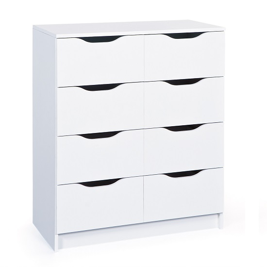 Crick Modern Chest of Drawers In White With 8 Drawers