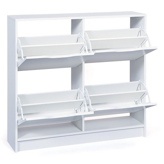 Crick Shoe Storage Cabinet In White With 4 Doors_2