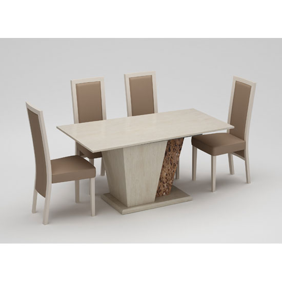 Kati Marble Effect Cream Dining Table With 4 Kati Dining Chairs