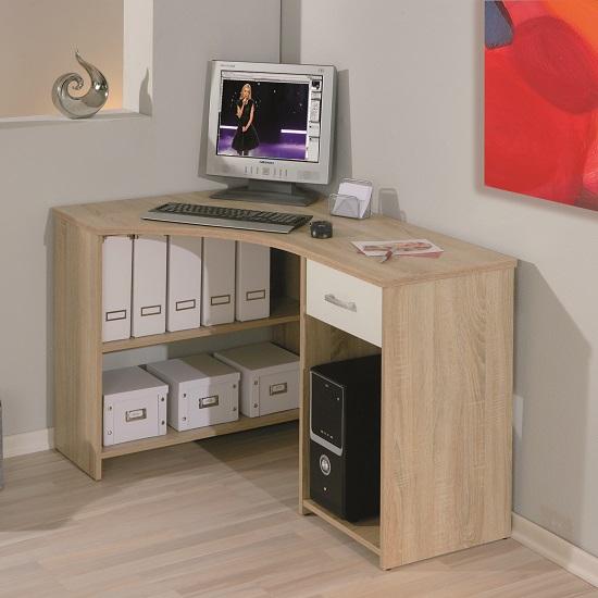banbridge corner computer desk in sonoma oak with 1 drawer. Black Bedroom Furniture Sets. Home Design Ideas