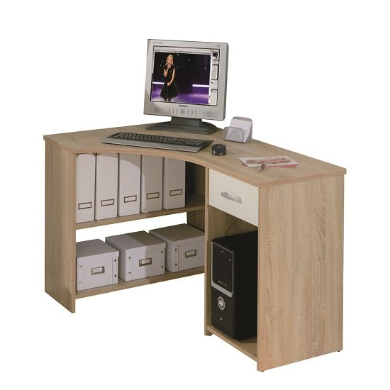 Banbridge Corner Computer Desk In Sonoma Oak With 1 Drawer_2