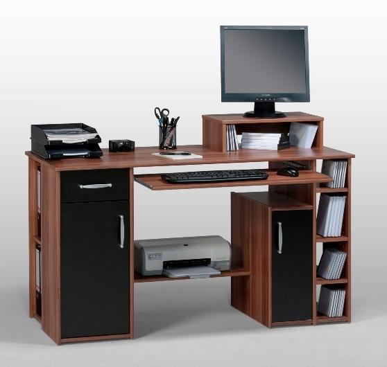 Tishe Walnut And Black Computer Work Station With Storage