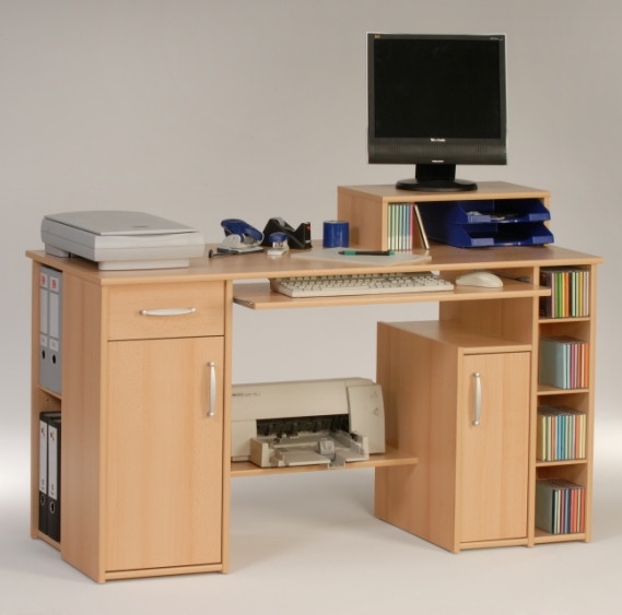 Tishe Beech Computer Work Station With Storage