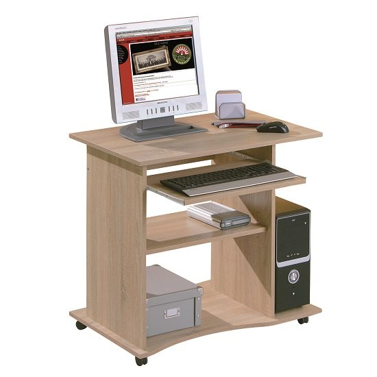 wenington wooden computer desk in sonoma oak with castors. Black Bedroom Furniture Sets. Home Design Ideas
