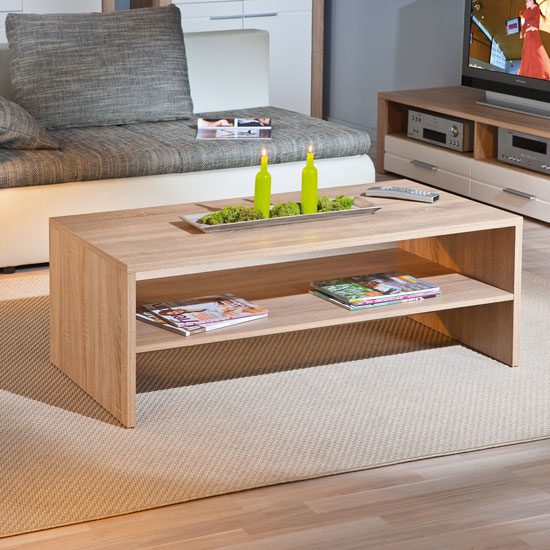 Utopia Wooden Coffee Table In Sonoma Oak With Undershelf