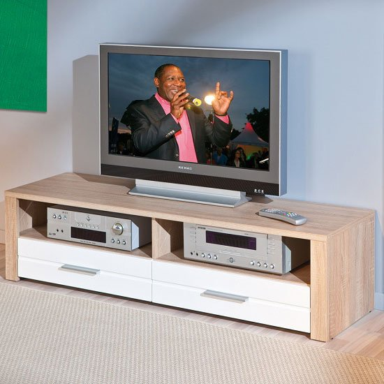 utopia lcd tv stand in sonoma oak with 2 drawers in white. Black Bedroom Furniture Sets. Home Design Ideas