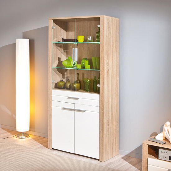 Utopia Glass Display Cabinet In Sonoma Oak With 4 Doors And LED