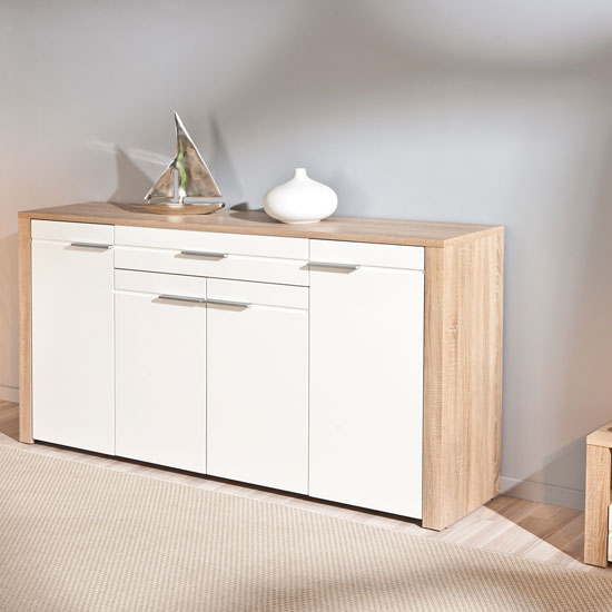Utopia Sideboard In Sonoma Oak With 4 Doors In White