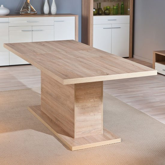 Aurelle Home Amanda Glass Top Rectangle Coffee Table: Utopia Extendable Dining Table In Sonoma Oak 23679
