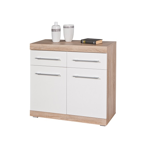 Metford 2 Door Sideboard In Oak With White Gloss Fronts_2
