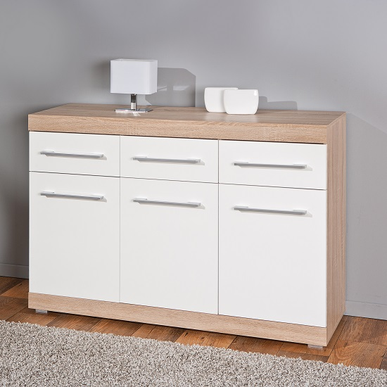 Metford Modern Sideboard In Oak With White Gloss Front 3 Doors