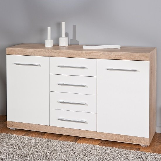 Metford contemporary sideboard in oak white gloss front 2 for White gloss sideboards at ikea