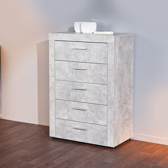 Croagh Chest of Drawers In Light Grey With 5 Drawers