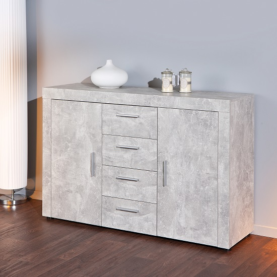 croagh sideboard in light grey with 2 doors and 4 drawers. Black Bedroom Furniture Sets. Home Design Ideas
