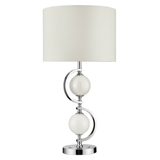 Chrome Table Lamp With Cream Glass Balls And Drum Shade