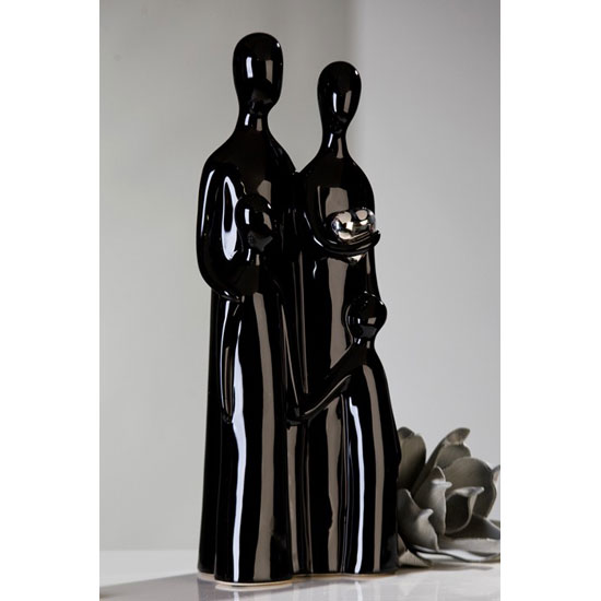 Familia Sculpture In Black And Silver Ceramic
