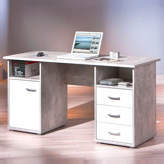 Patrick Computer Desk In Light Grey With 3 Drawers And 1 Door_1