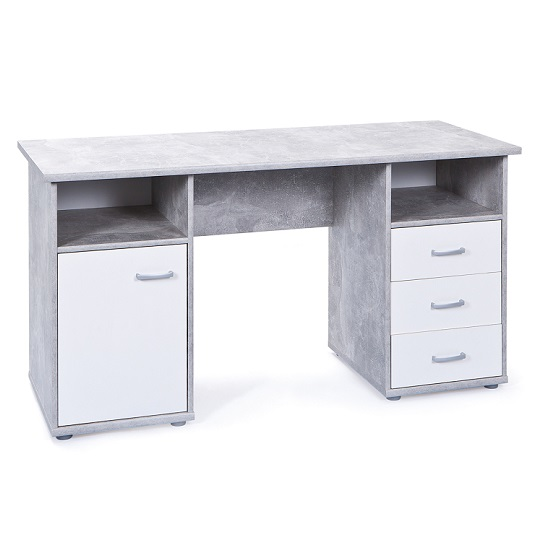 Patrick Computer Desk In Light Grey With 3 Drawers And 1 Door_2