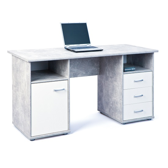 Patrick Computer Desk In Light Grey With 3 Drawers And 1 Door_3