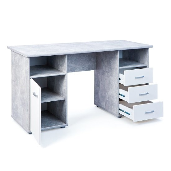 Patrick Computer Desk In Light Grey With 3 Drawers And 1 Door_4