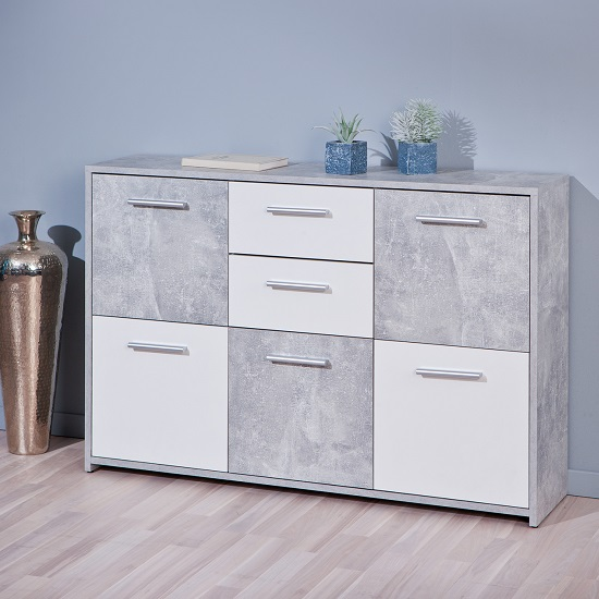 Lamont Sideboard In Light Grey And White With 5 Doors 2 Drawers_1