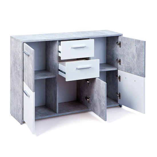 Lamont Sideboard In Light Grey And White With 5 Doors 2 Drawers_3