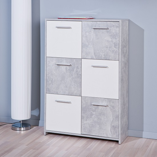 Monterey Sideboard In Light Grey And White With 6 Doors_1