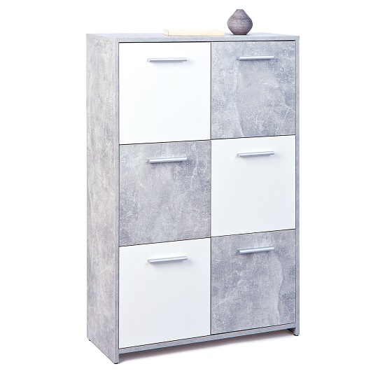 Monterey Sideboard In Light Grey And White With 6 Doors_2