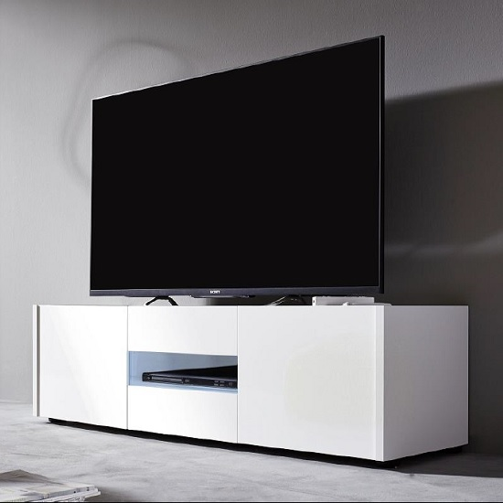 Cannes LCD TV Stand In White Gloss With 3 Doors And LED Lighting