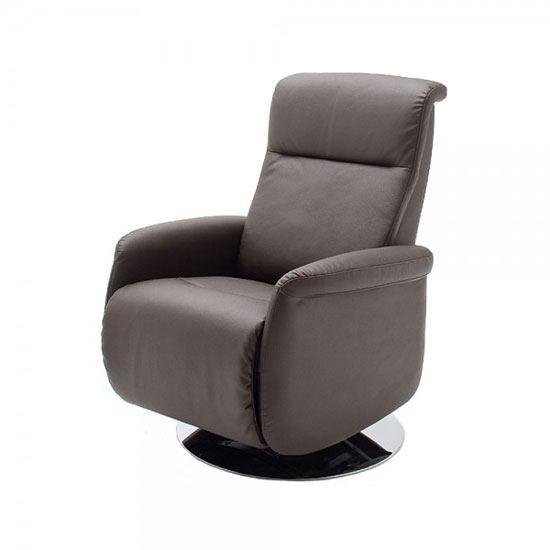 View Almeida rotating reclining chair in brown leather and metal base