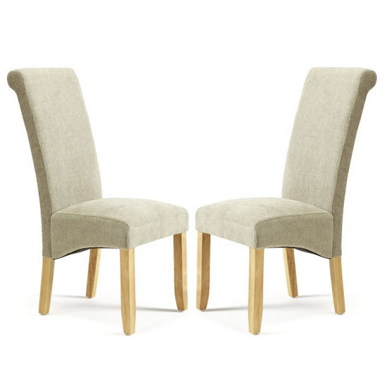 Ameera Dining Chair In Plain Sage Fabric With Oak Legs in A Pair