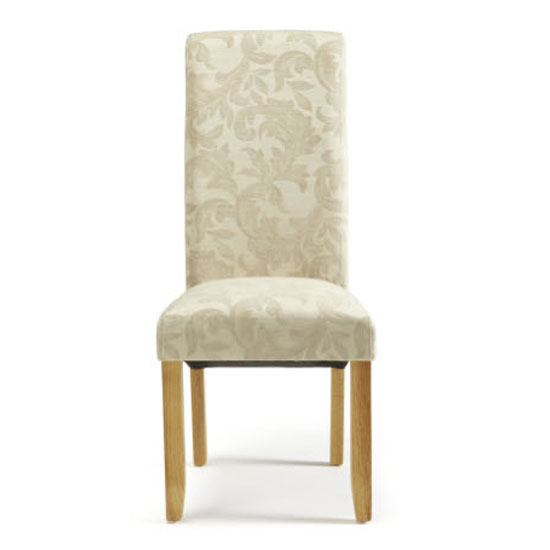 Ameera Dining Chair In Floral Cream Fabric And Oak in A Pair_2