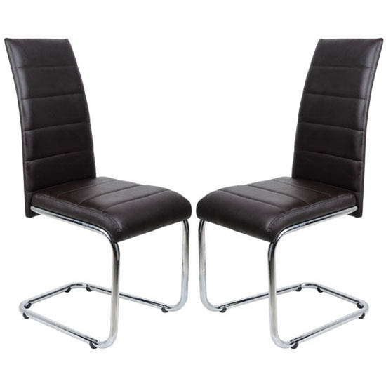Daryl Dining Chair In Brown PU Leather in A Pair
