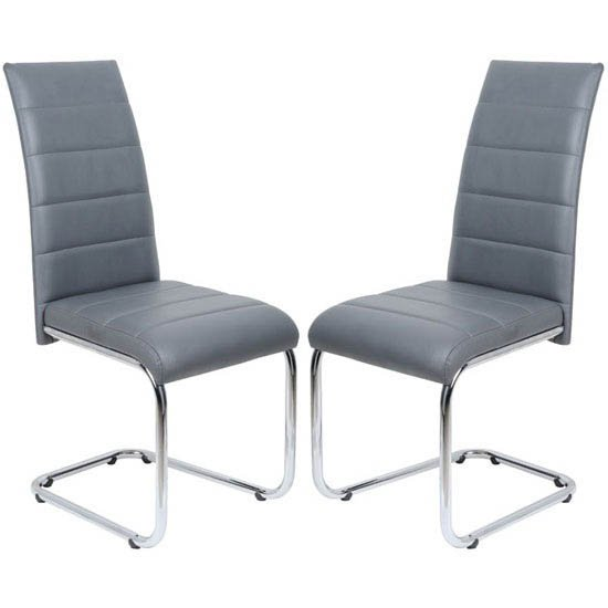 Daryl Dining Chair In Grey PU Leather in A Pair