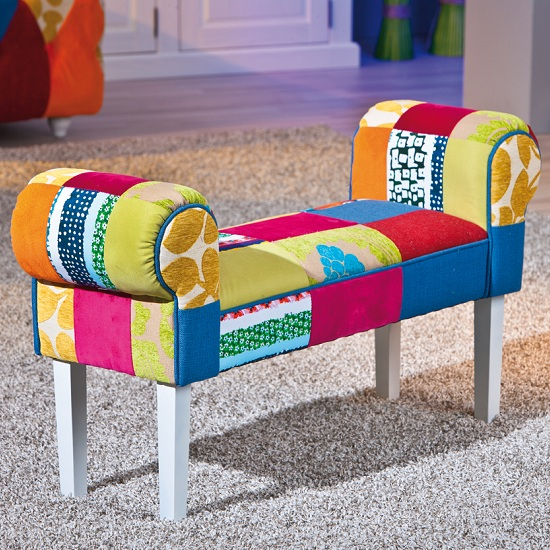 Benton Bench/Chaise In Multicolour Patchwork With Wooden Legs