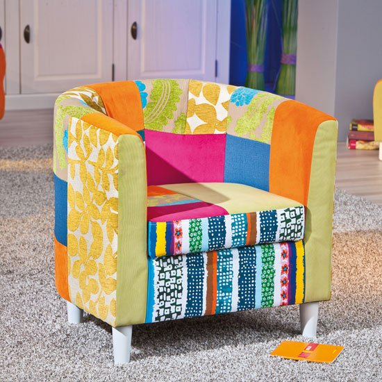 benton tub chair in multicolour patchwork with wooden legs. Black Bedroom Furniture Sets. Home Design Ideas